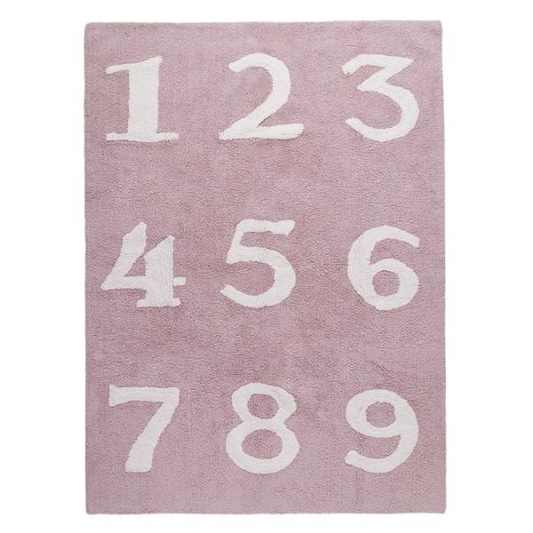 Kinderzimmerteppich Zahlen Rosa