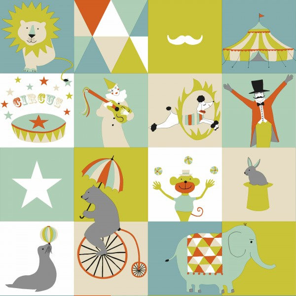 Tapete Circus Grün