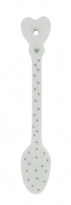 """Bastion Collections - Löffel """"Dots / Punkte"""" - weiß/grau"""