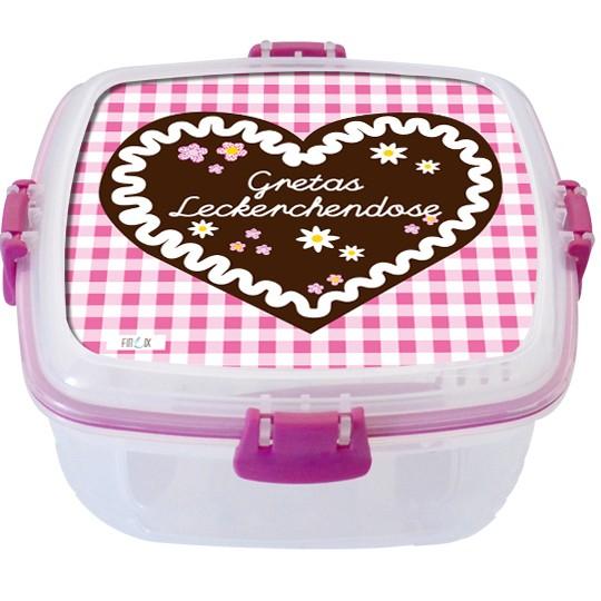 """Lunchbox groß """"Lebkuchenherz"""" rosa - personalisierbar"""