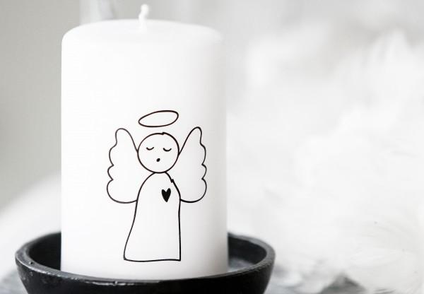 """Rustik Lys - Stumpenkerze """"Angel / Engel"""" - 6 x 10 cm"""