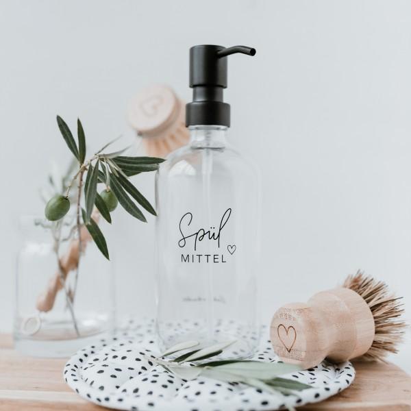 """Eulenschnitt - Seifenspender aus Glas """"Spülmittel"""" transparent"""
