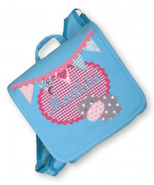 "crepes suzette - Kindergartentasche ""Nilpferd"" hellblau"