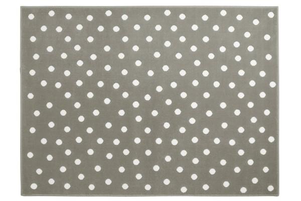 Kinderteppich rutschfest in Grau mit weißen Punkten