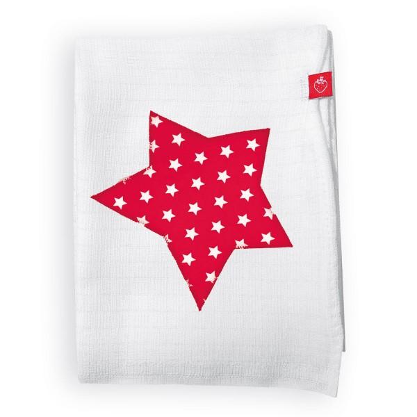Mullwindeln mit Stern Rot