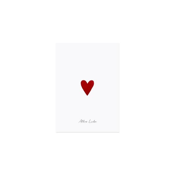 Eulenschnitt Postkarte mit kleinem roten Herz