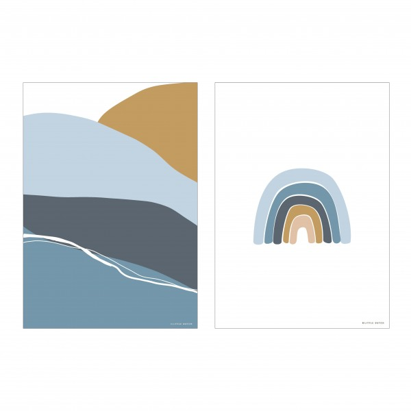 "Little Dutch - Wendeposter ""Regenbogen/Horizon"" - blue"