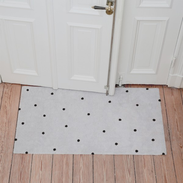 Eulenschnitt - Outdoor Fußmatte groß - weiß mit schwarzen Punkten