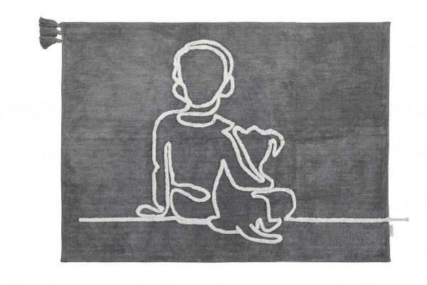 """minividuals - Teppich in Lineart """"Junge mit Hund"""""""