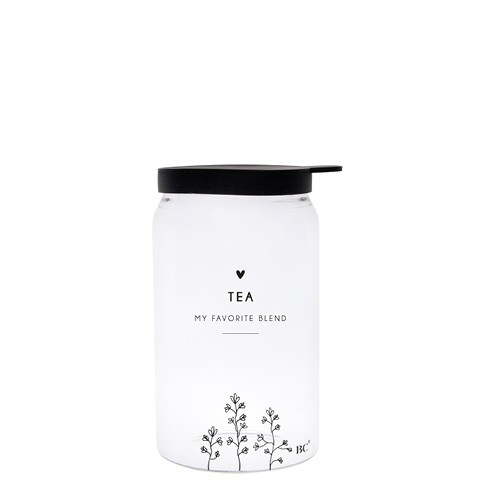 """Bastion Collections - Vorratsglas """"TEA - Flowers"""" XS - schwarz"""