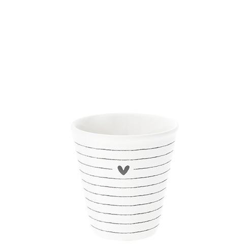 """Bastion Collections - Espresso Becher """"Heart & Stripe"""" - weiß/schwarz"""