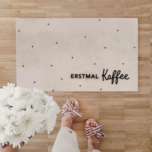 """Eulenschnitt - Fussmatte """"ERSTMAL Kaffee"""" beige"""
