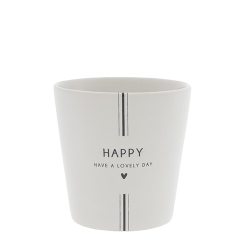 """Bastion Collections - Becher groß """"Happy - Have a lovely day"""" - weiß/schwarz"""