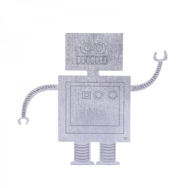 """Nogallery - Holzdeko """"Roboter"""" - Silber"""