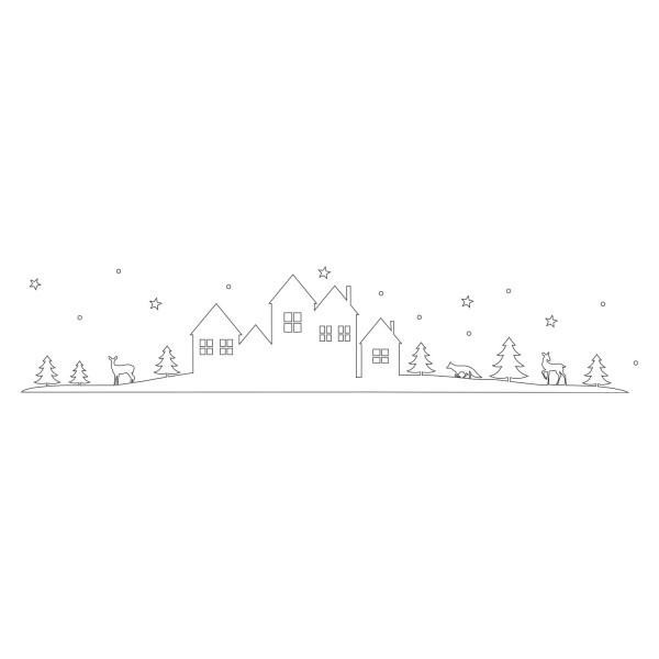 """Eulenschnitt - Sticker """"Schneelandschaft"""" weiß"""