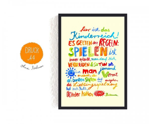 "Poster A4 ""Kinderregeln"""