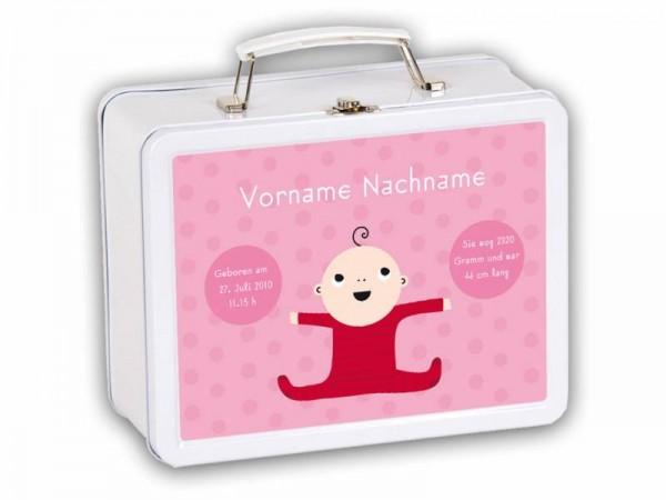 Willkommenskoffer Baby mit Daten Rosa