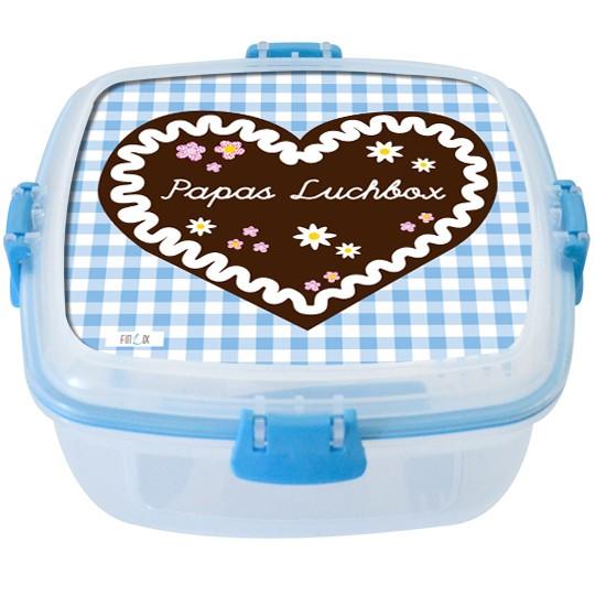 """Lunchbox groß """"Lebkuchenherz"""" hellblau - personalisierbar"""