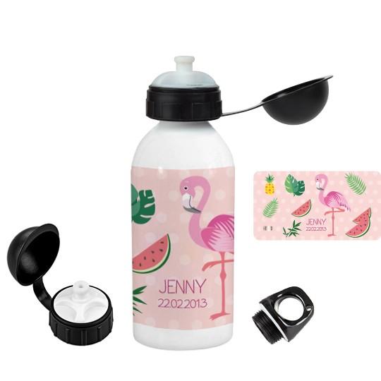 Finlix - Trinkflasche mit Namen Flamingo personalisierter von Finlix