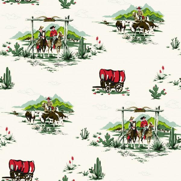 Tapete Cowboy Leben Grün