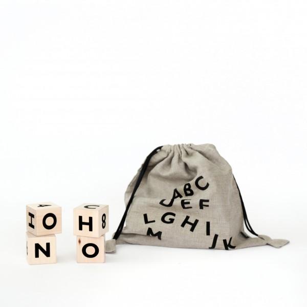 ooh noo - Alphabet Würfel - schwarz