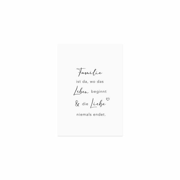 "Eulenschnitt - Postkarte ""Familie ist da, wo das Leben beginnt"""