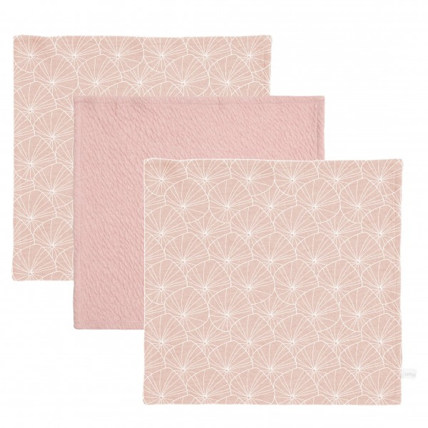 "Little Dutch - Schnullertuch 3er-Set ""Lily Leaves Pink/Pure Pink"""