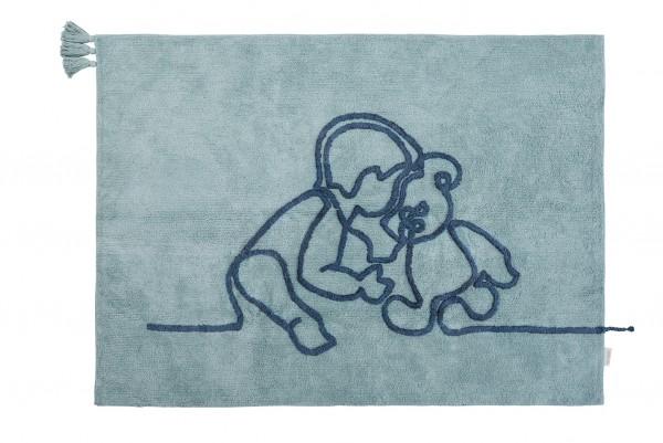 "minividuals - Teppich Lineart ""Junge mit Teddybär"""