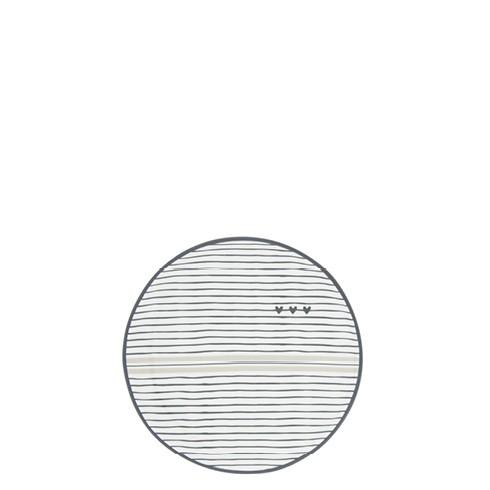"""Bastion Collections - Teller / Teebeutelablage """"Streifen und Herz"""" 9 cm - weiß/schwarz/beige"""