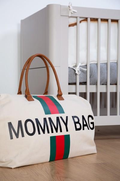 """Childhome - Tasche """"Mommy Bag"""" - Canvas altweiss - Streifen grün/rot"""