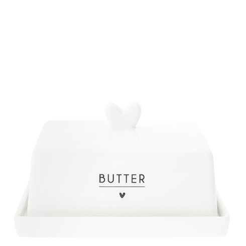 """Bastion Collections - Butterdose """"Herz"""" weiß/schwarz"""