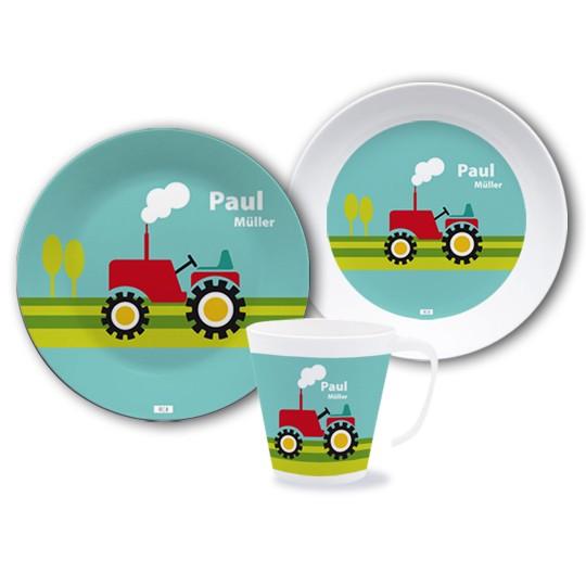 Geschirrset mit Namen Traktor
