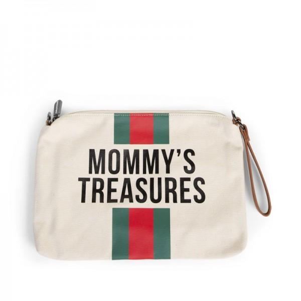 """Childhome - Clutch """"Mommy's Treasures"""" - Canvas altweiss - Streifen grün/rot"""