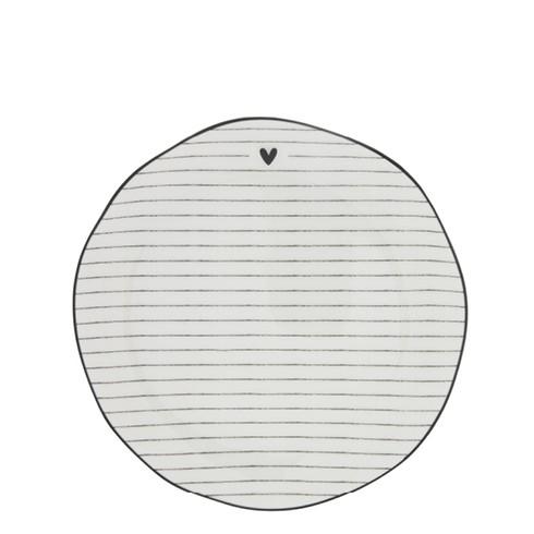 """Bastion Collections - Teller """"Heart & Stripes"""" 19 cm - weiß/schwarz"""