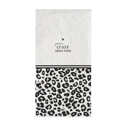 """Bastion Collections - Servietten lang """"Leopard / crazy"""" - 16 Stück - weiß/schwarz/beige"""