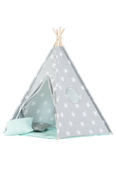 WigiWama - Tipi Set Sterne - Grau mit Matte Mint