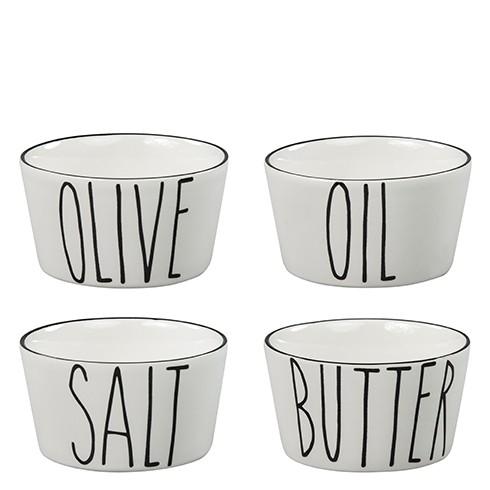 Bastion Collections - Schalen 4er-Set (Salt/Butter/Oil/Olive) - weiß/scharz
