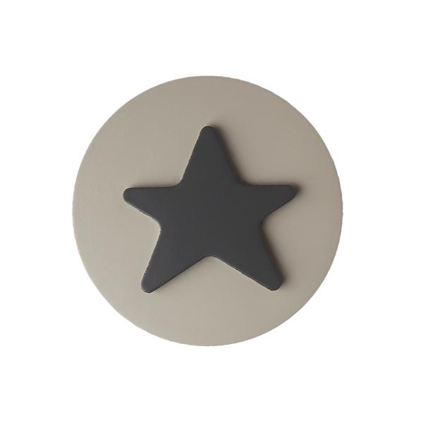 Möbelgriff Stern Grau / Creme