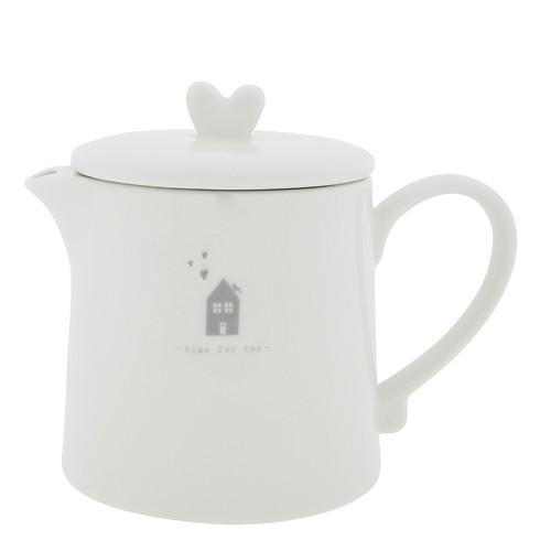 "Bastion Collections - Teekanne ""Time for Tea"" weiß/grau"