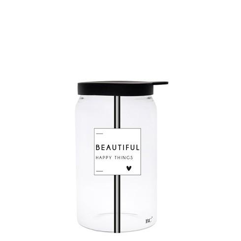 "Bastion Collections - Vorratsglas ""BEAUTIFUL HAPPY THINGS"" XS - schwarz"