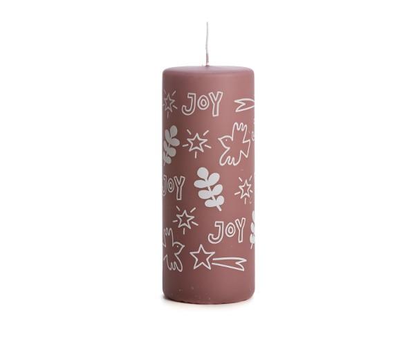 "Rustik Lys - Stumpenkerze ""Christmas - plum"" - 6 x 15 cm"