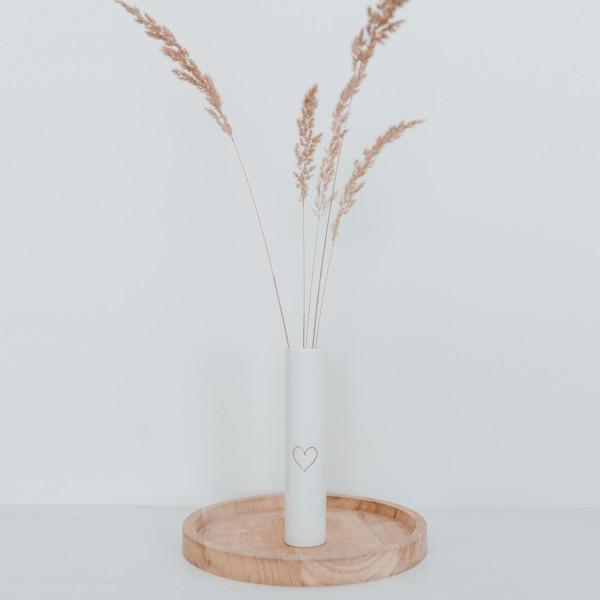 Eulenschnitt - Fine Bone Vase mit goldenem Herz 18cm