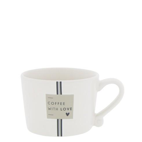 """Bastion Collections - Tasse klein """"Coffee with love"""" - weiß/schwarz/beige"""