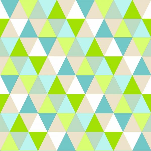 Tapete Retro Dreiecke Grün