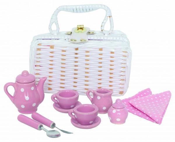JaBaDaBaDo - Picknick-Set Mini aus Porzellan in rosa/ weiß
