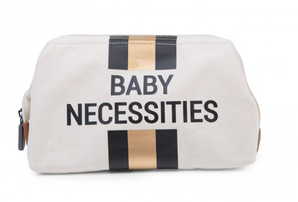 """Childhome - Kulturtasche """"Baby Necessities"""" - Canvas altweiss - Streifen schwarz/gold"""