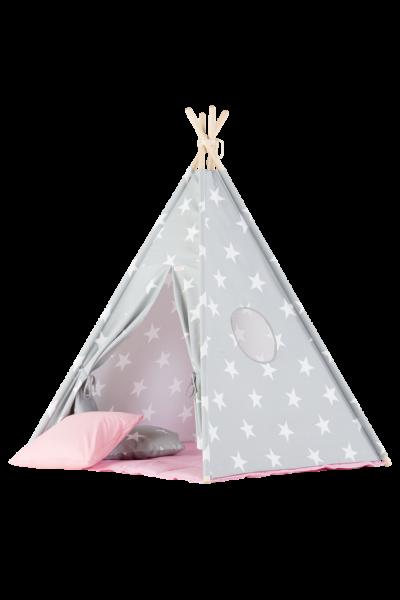 WigiWama - Tipi Set Sterne - Grau mit Matte in Rosa