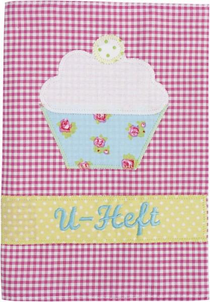 U-Hefthülle mit Namen in rosa mit Cupcake