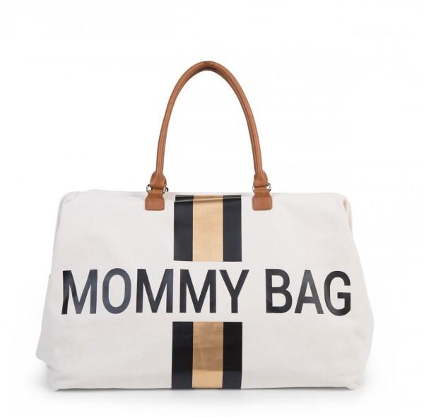 """Childhome - Tasche """"Mommy Bag"""" - Canvas altweiss - Streifen schwarz/gold"""