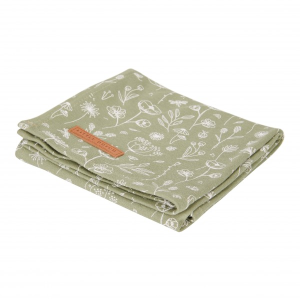 """Little Dutch - Swaddle Tuch """"Wild Flowers Olive"""" 120 x 120 cm"""